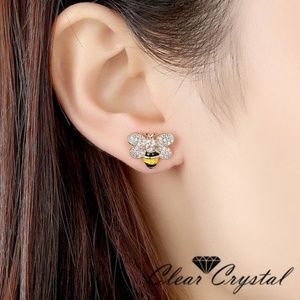 Bees Yellow Gold Filled Crystal CZ Stud Earrings